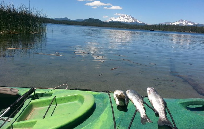 Trout on a kayak