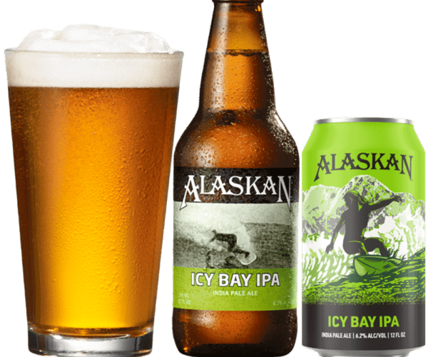 Alaska beer bottle, can and glass